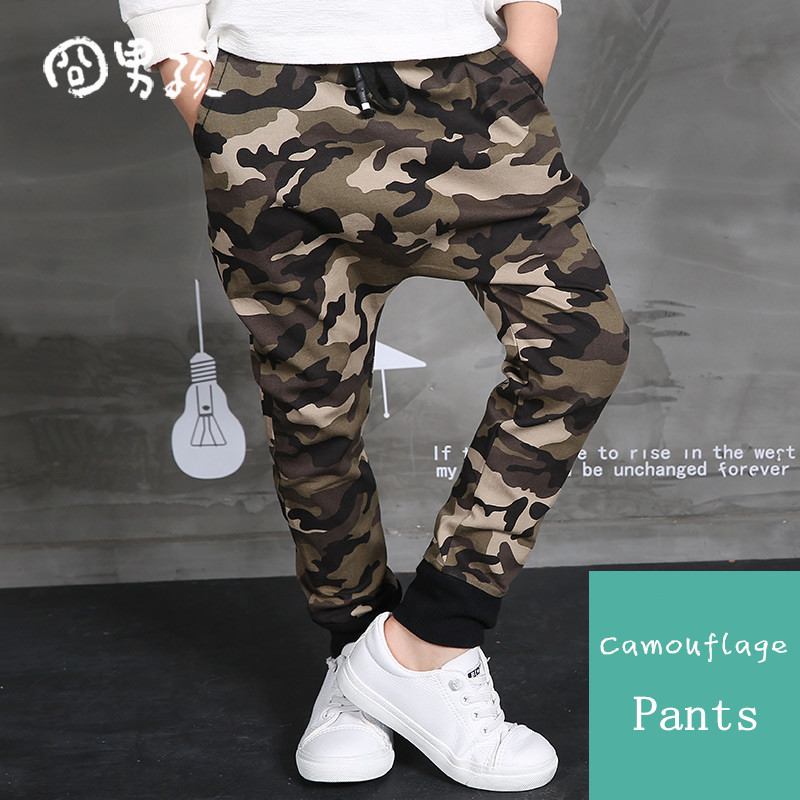 New Children's 2018 Autumn Clothing Hip Hop Dance Harem Black camouflage Leisure Sports Pants kids Boys Big Crotch stripe Pants stripe contrast split pants