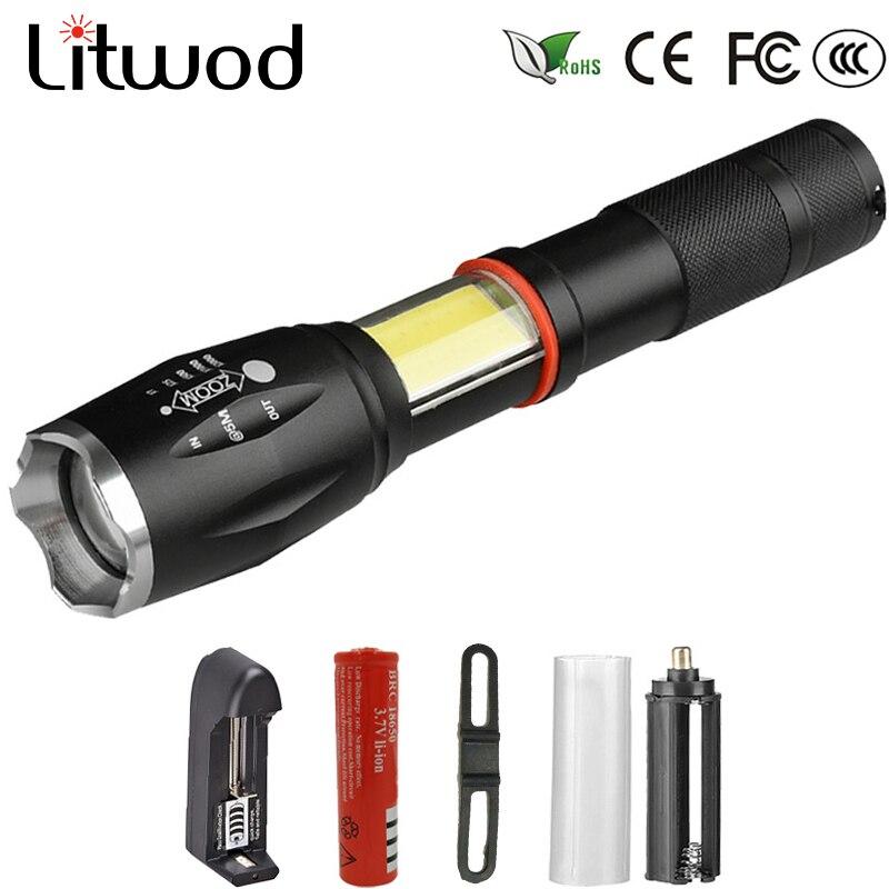 Litwod Z901005A LED lampe de Poche 5000LM En alliage D'aluminium Torche XML-T6 + COB Portable lumière étanche Zoomables Tactiques lanterne