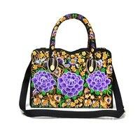 Japan and South Korea wind embroidery portable diagonal dual use bag Yunnan double sided flower embroidery bag handbag