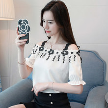 3XL Womens Blouses And Tops Korean Chiffon Solid Shirts Slash Neck Ladies  For Women Summer Clothing