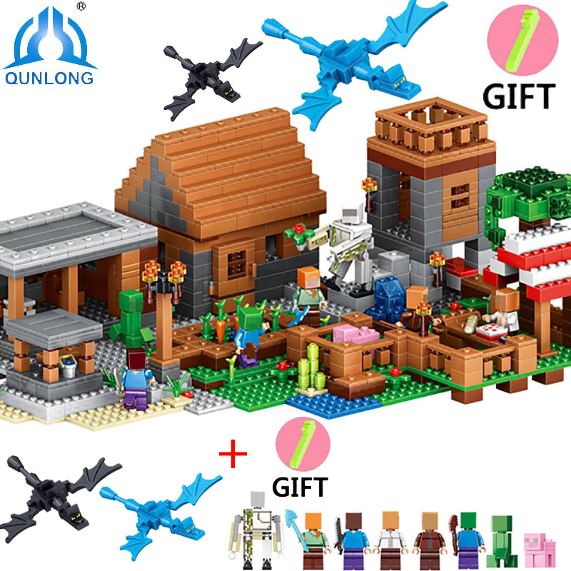 Qunlong Minecrafte Blocks With Ninjago Dragon Compatible Legoe Minecrafte City Building Blocks  Enlighten Toys For Children compatible with lego ninjago 9450 lele 79132 959pcs blocks ninjago figure epic dragon battle toys for children building blocks