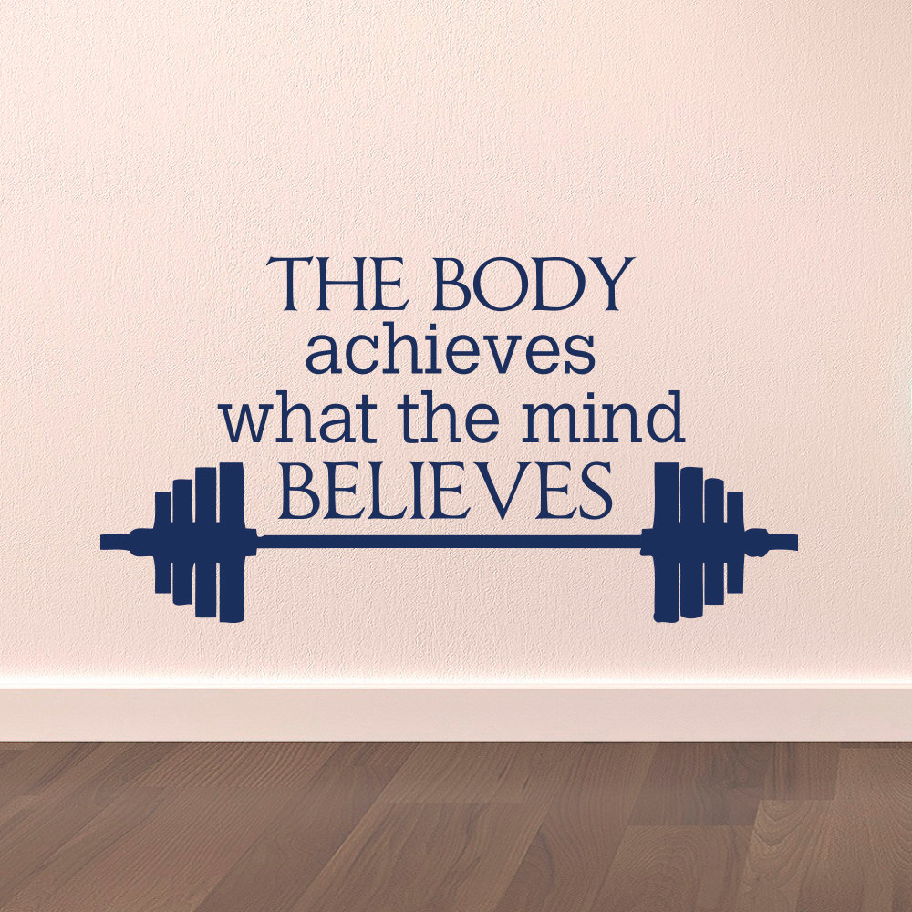 Us 4 58 31 Off Gym Wall Decal Sports Quotes The Body Achieves What The Mind Believes Motivational Sports Wall Art Stickers Fitness A085 In Wall