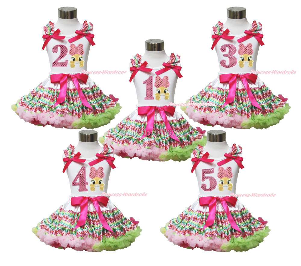 Easter Pink Bow Bunny White <font><b>Top</b></font> 1ST 2ND 3RD 4TH 5TH Birthday <font><b>Chevron</b></font> Pettiskirt 1-8Y MAPSA0426