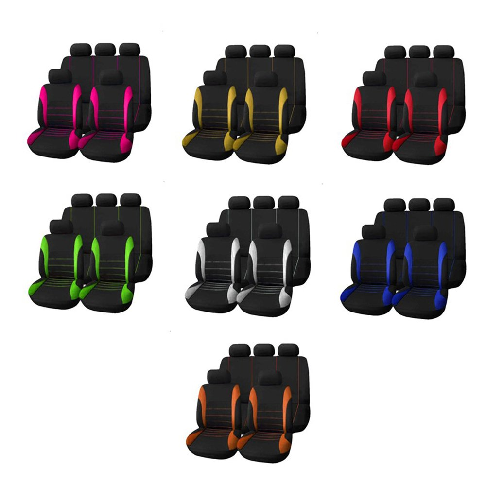 9pcs/set Car Seat Cover Comfortable Dustproof Seat Protectors Pad Cover Universal Full Seat Covers For Vehicle Cars To Be Renowned Both At Home And Abroad For Exquisite Workmanship, Skillful Knitting And Elegant Design