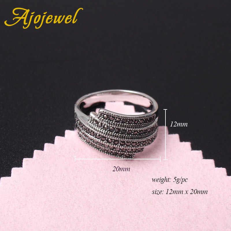 Ajojewel Ukuran 7-9 Geometris Asimetris Garis Cincin untuk Pria dan Wanita Vintage Gaya Sederhana Cincin Baik Pertunangan hadiah