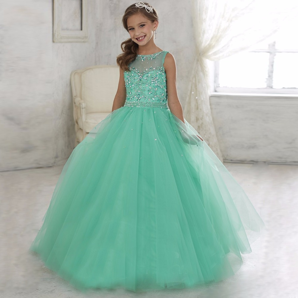 Stunning Sleeveless Light Green Ball Gown Little Girls Pageant ...