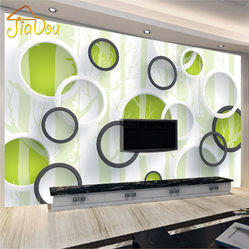Custom 3d mural wallpaper modern european living room tv for Cost of a mural