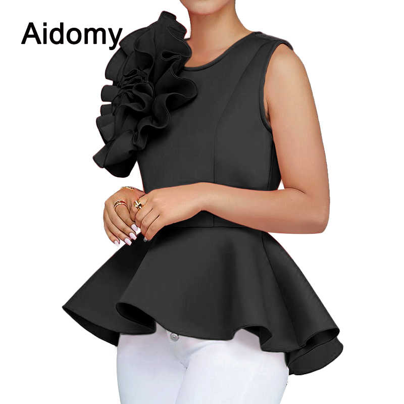 8909c5fb418cda ... Summer Women Blouse 2018 Sleeveless Ruffles Womens Tops Elegant Ladies  Evening Party Wear Applique Peplum Top ...