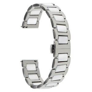 Image 5 - Ремешок из керамики и нержавеющей стали для наручных часов, быстросъемный браслет с пряжкой бабочкой Жак Лемана, 12 14 16 18 20 22 мм