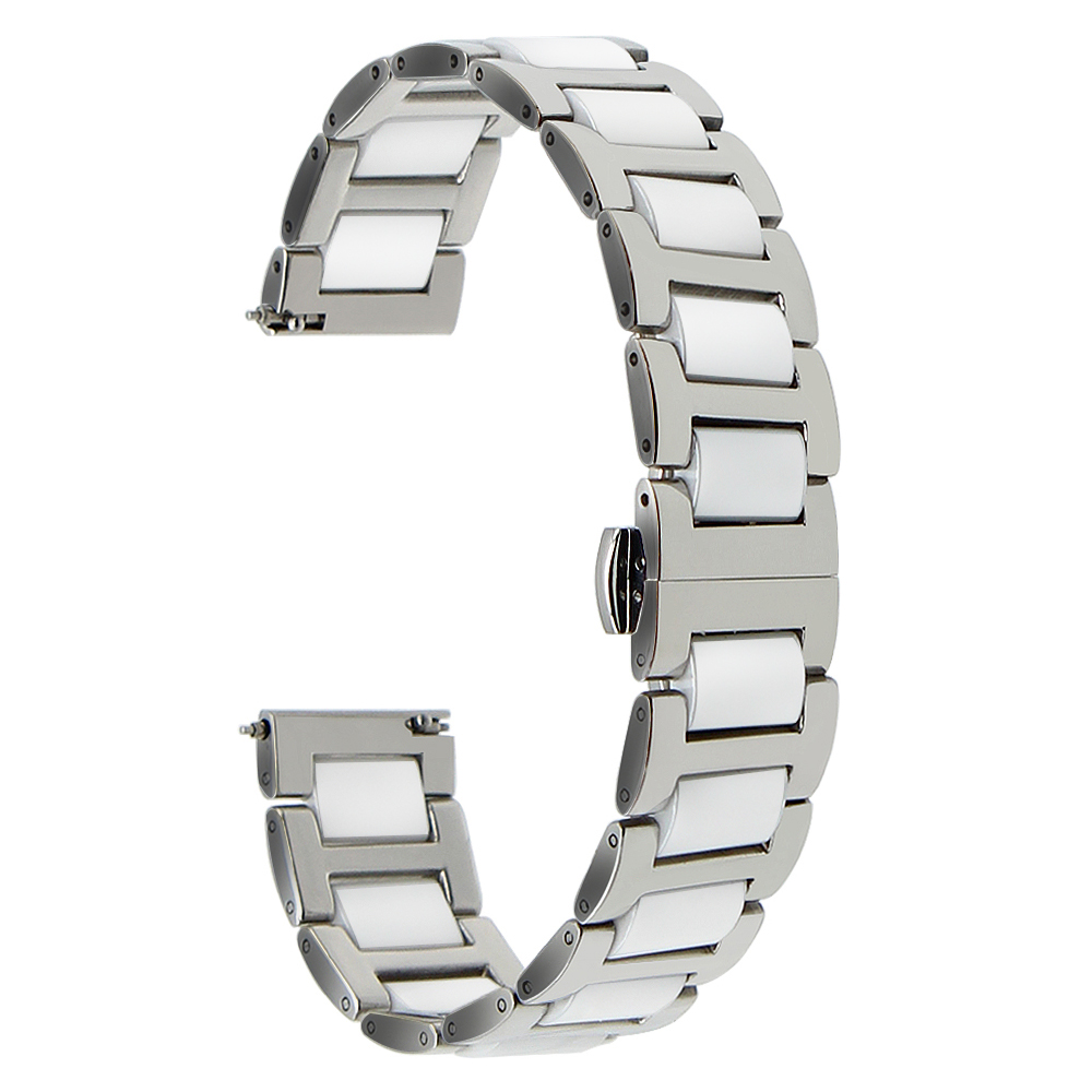 Image 5 - Ceramic + Stainless Steel Watch Band 12 14 16 18 20 22mm for Jacques Lemans Butterfly Buckle Strap Quick Release Wrist Braceletsteel watch bandwatch bandstainless steel watch band -