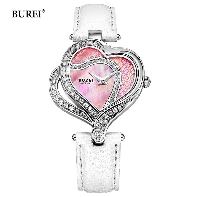 BUREI Luxury Brand Watch Waterproof Fashion Heart Shape Womens Ladies Quartz Wrist Watch Clock Women 2017 Hours Relogio Feminino burei fashion dual heart shaped women quartz watch