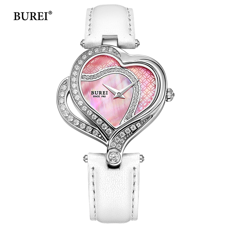 BUREI Women Watches Waterproof Fashion Casual Heart Shape Dial Ladies Dress Quartz Wrist Watch Clock Women Saat Relogio Feminino casima women watches waterproof fashion ladies leather rhinestone gold quartz wrist watch clock woman 2018 saat relogio feminino