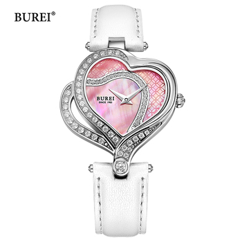 цена BUREI Women Watches Waterproof Fashion Casual Heart Shape Dial Ladies Dress Quartz Wrist Watch Clock Women Saat Relogio Feminino онлайн в 2017 году