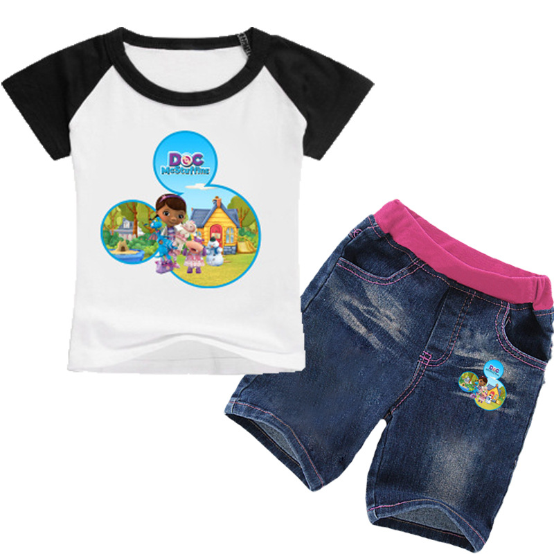 2-8Years Bobo Choses Summer 2018 Kids Girls Clothes Set Doc Mcstuffins Clothes Girls Short Sets Children Sports Suit Toddler