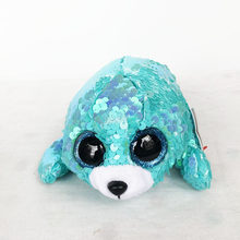 "New Arrival 15cm Ty Beanie Boos Flippables Collection 6"" Waves Shiny Teal/Aqua Sequined Harpoon Seal Birthday Christmas Gifts(China)"