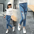2017 Spring Fashion Baby Girl Jean Pants Butterfly Embroidery Kid Jeans Elastic Waist Children Denim Trousers Bottoms