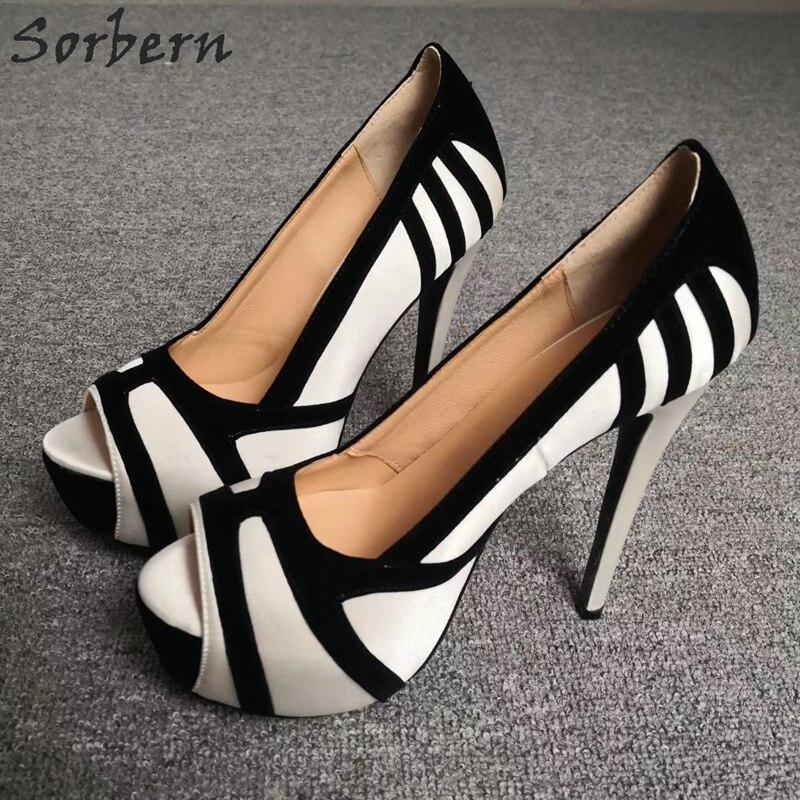 Sorbern/женские туфли с открытым носком на высоком каблуке; белые туфли на платформе без застежки; пикантные туфли лодочки на шпильке по индивидуальному заказу; Размеры 6 - 5