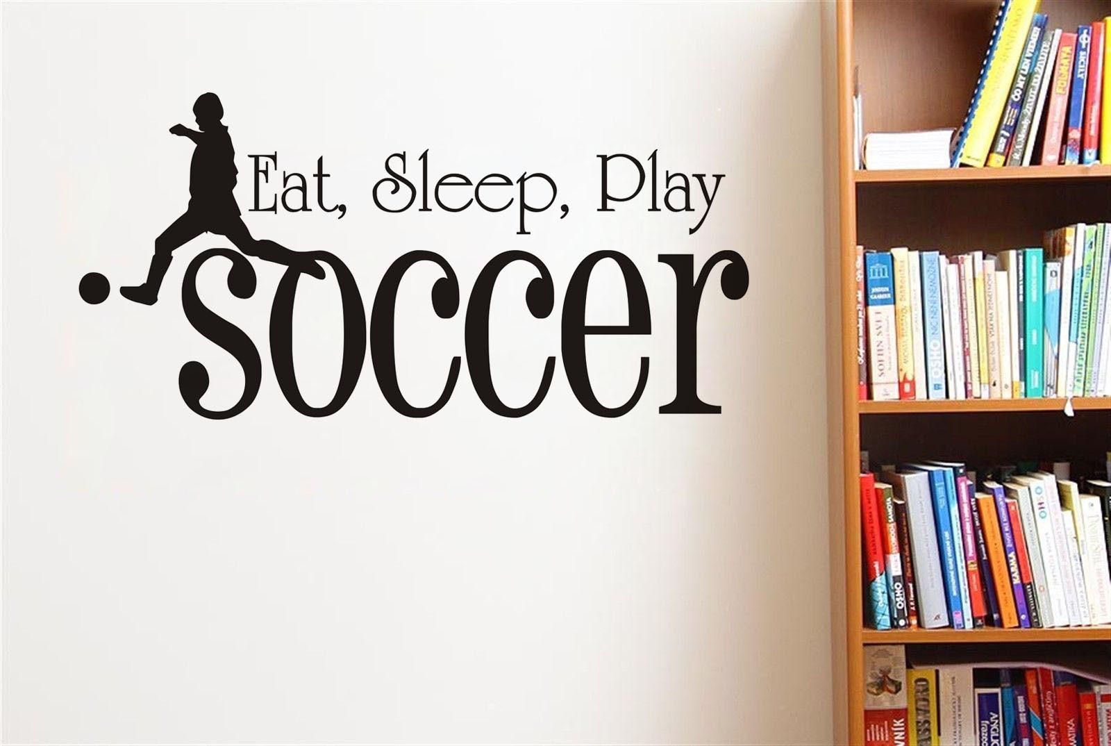 4d1e98fd8 أكل النوم يلعب كرة لاعب خيال ديكور المنزل الفينيل الجدار ملصق الرياضة شحن  مجاني