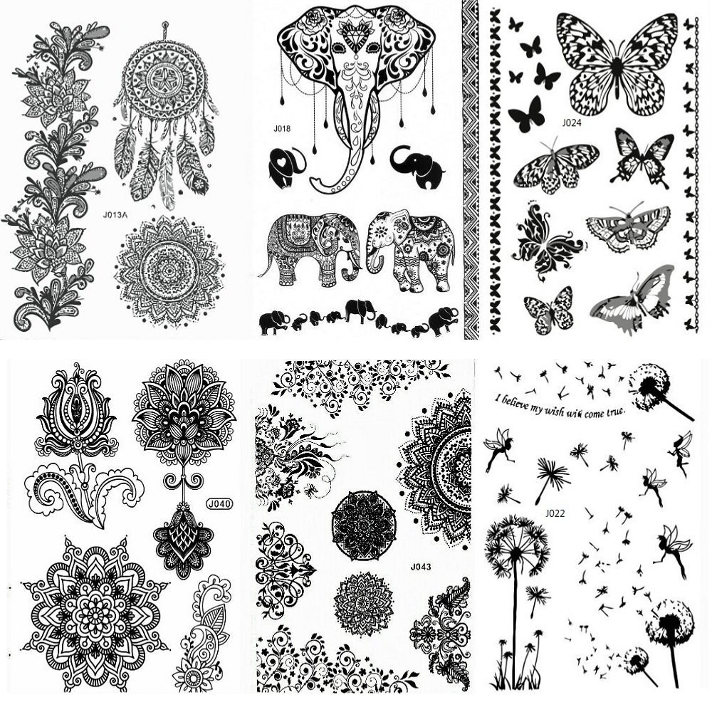 Henna Style Tattoos Lace Tattoo: Henna Tattoo Stickers Black Lace Mehendi Temporary Tattoos