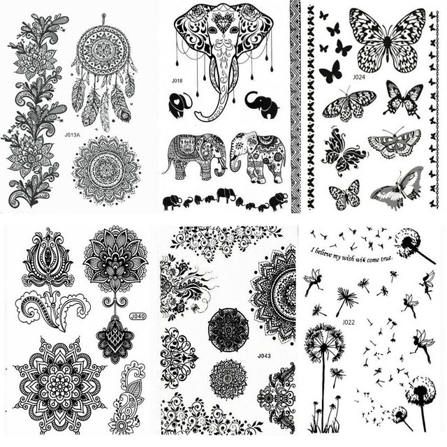 Tatuaje de Henna pegatinas negro encaje Mehendi tatuajes