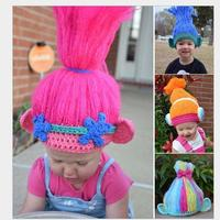 Trolls Cosplay Knitting Hat Kids Handmake Poppy Cosplay Wig Party Hats for Kids 3-6years