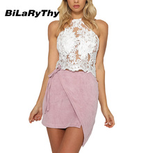 BiLaRyThy Sexy Women's Backless Lace Crochet Crop Tops Halter Neck Hollow Out Camisole Short Basic Bustier Top
