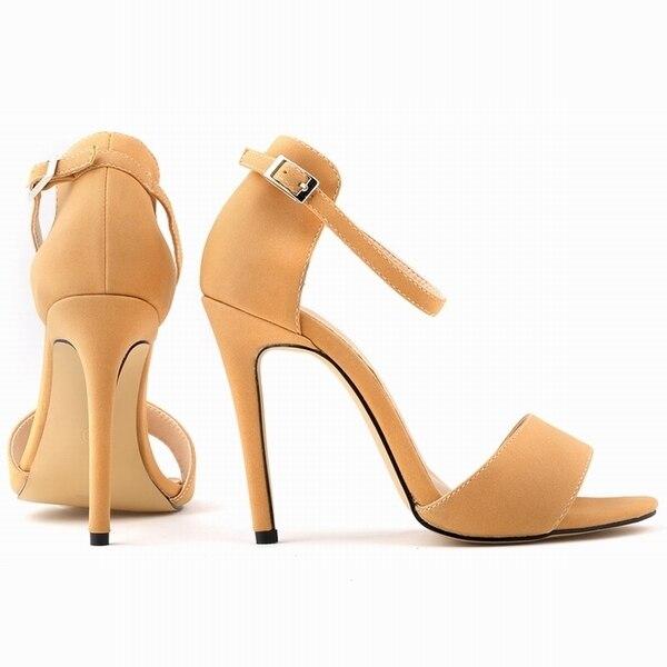 Nueva Moda Open Toe Suede Mujeres Bombas Tobillo Correa Zapatos de Tacones Altos Zapatos de Verano Bombas Tamaño EE.UU. 4-11 102-2SUEDE