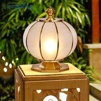 Art designe outdoor lamp brass globe outdoor post lighting waterproof exterior yard garden wall pillar lights fixture