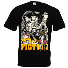 Pulp Fiction Black T shirt Quentin Tarantino 94 John Travolta Samuel L. Jackson Men Brand Printed 100% Cotton T-shirt