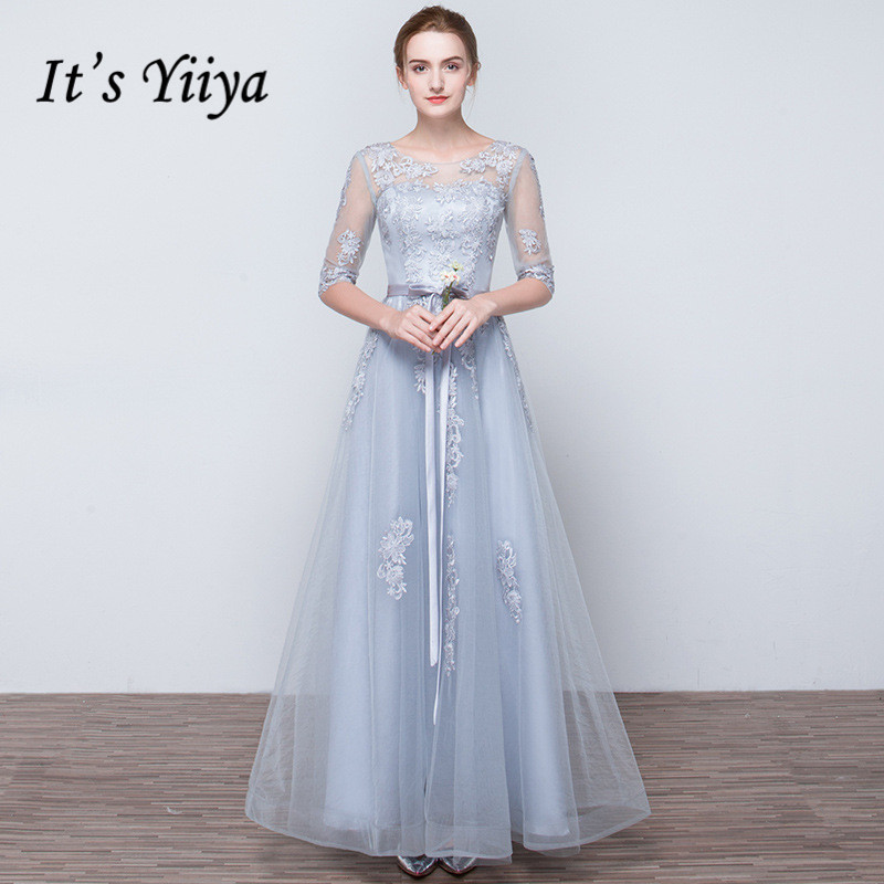 It's YiiYa   Prom   Gowns Gray Half Sleeves O-neck Plus size Custom Lace up Back A-line Tulle Floor Length Long   Prom     Dresses   YS022