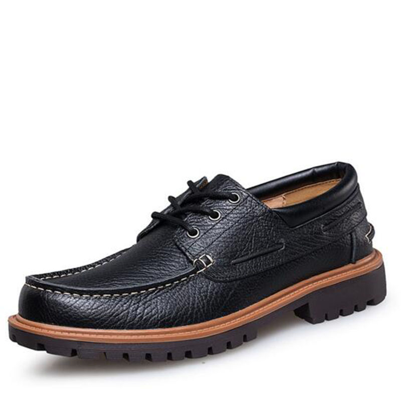 Business Work Men Lace-up Cow Genuine Leather Shoes,Round Toe Rubber Non-slip Breathable Oxford Sewing Design Leather Shoes business men tie shallow mouth brown leather casual rivet shoes men s shoes round youth non slip rubber sole