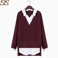 2016 New Clothes Autumn Winter Type Women Patchwork Shirt Blouses Casual Loose V Neck Long Sleeve