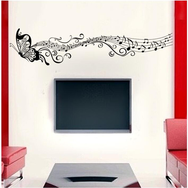 Classical Music Purple Butterfly Wall Stickers Living Room Bedroom Background Decorative Painting