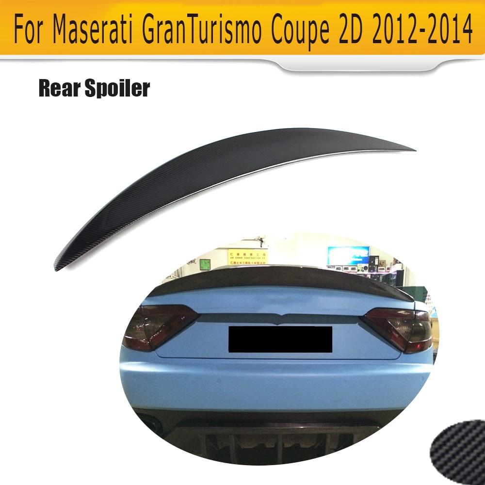 Carbon fiber Rear Trunk Boot lip Spoiler Wing for Maserati GT GranTurismo Coupe 2 Door 2012 2013 2014 Non Convertible Black FRP