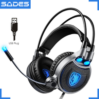 Sades R1 USB 7 1 Surround Stereo Sound Vibration Game Headphones With Microphone LED Light Gaming