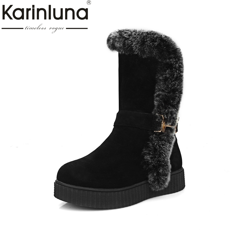 KARINLUNA Big Size 34-43 Fashion 2017 Winter Red Brown Black Flat Heel Warm Fur Platform Shoes Women Snow Boots  new fashion style snow boots winter fashion black brown warm fur women casual shoes on sale size 34 39