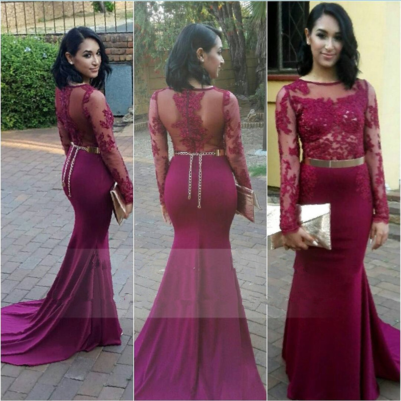 Burgundy Afrcian Black Girl Mermaid Evening Dress Sheer O