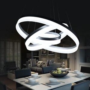 Image 3 - Lusso Moderno lampadario LED cerchio anello di luce lampadario per soggiorno Acrilico Lustre Lampadario di Illuminazione del nastro bianco di 85 265