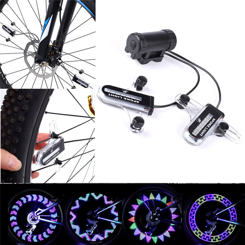 snowshine2#4501 14 LED Motorcycle Cycling Bicycle Bike Wheel Signal Tire Spoke Light 30 Changes
