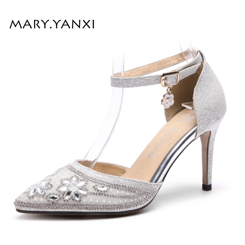 Women Pumps Big Size Shoes Mary Janes Crystal Sequined Cloth Buckle Strap High Thin Heels Pointed Toe Casual Fashion Shallow