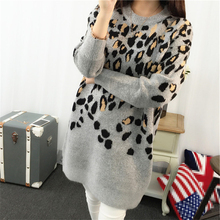 DoreenBow Women Leopard Sweater Autumn Winter New Fashion Knitted Ladies Long Sleeve O Neck Fashion Outerwear Pullovers, 1 Piece