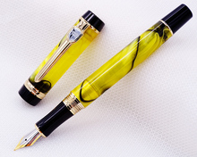 Jinhao Century Series Celluloid Fountain Pen Beautiful Yellow and Black Line Pattern, Great for Graduate/Business/Office