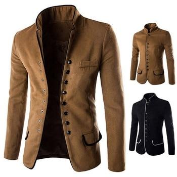 Vogue Men Stand Collar Coat Slim Fit Suit Button Jacket Overcoat Blazers Tops Dress For Men Clothing Nice Male Jacket Coat