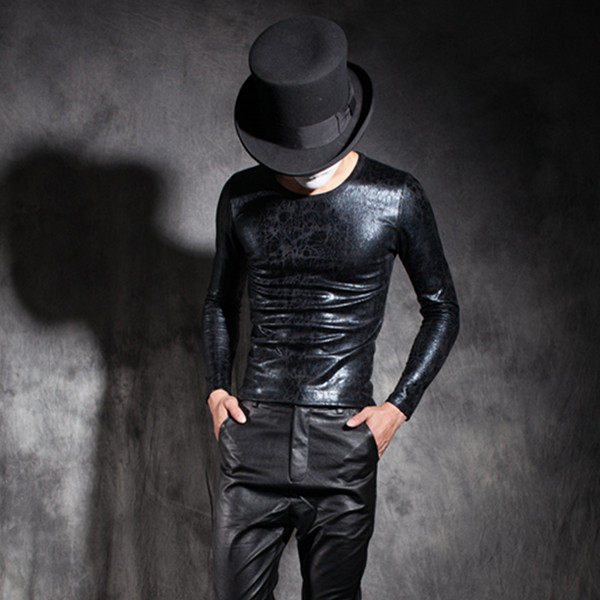 T Hommes Chemise T Skin Noir shirt À Mince 2017 Longues Manches Chanteur Moulant Base Personnalisé Costumes Mâle Fissuré De Punk Clothing xAvqpZ