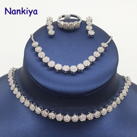 Nankiya Trendy Cubic Zirconia Choker Necklace 4pcs Jewellery Sets For Women Wedding Party Gift Bridal Jewelry Accessory NC453