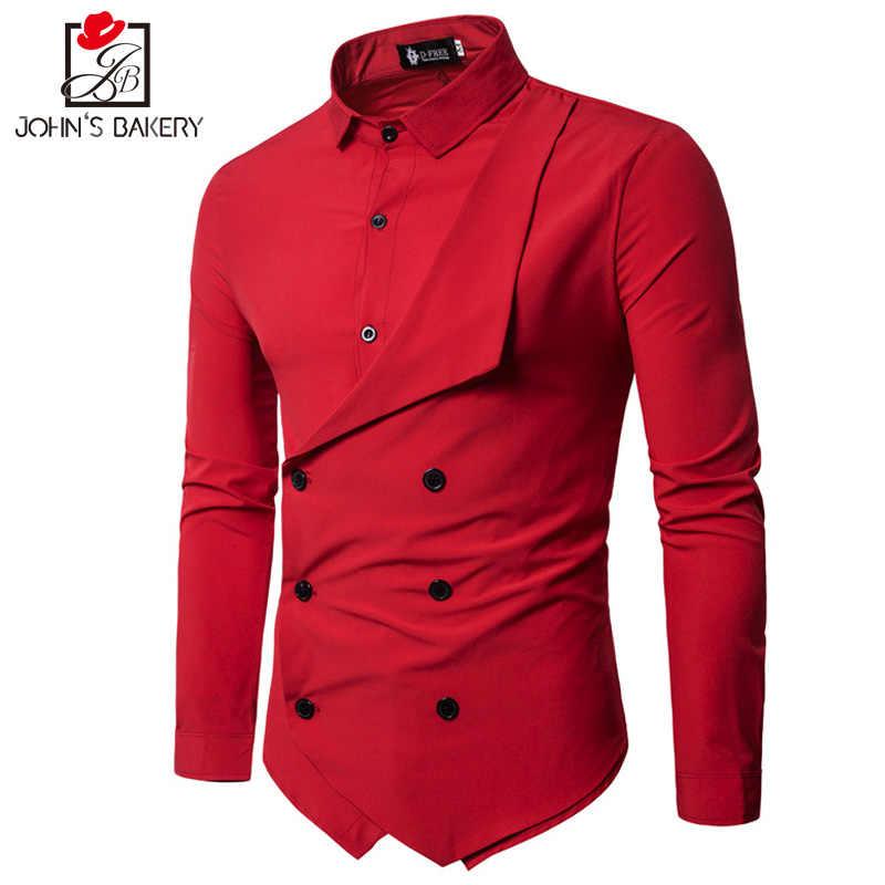 男性シャツ2018春新ブランドメンズスリムフィットドレスシャツ男性長い袖フェイク2カジュアルシャツカミーサmasculinaサイズm-xxl