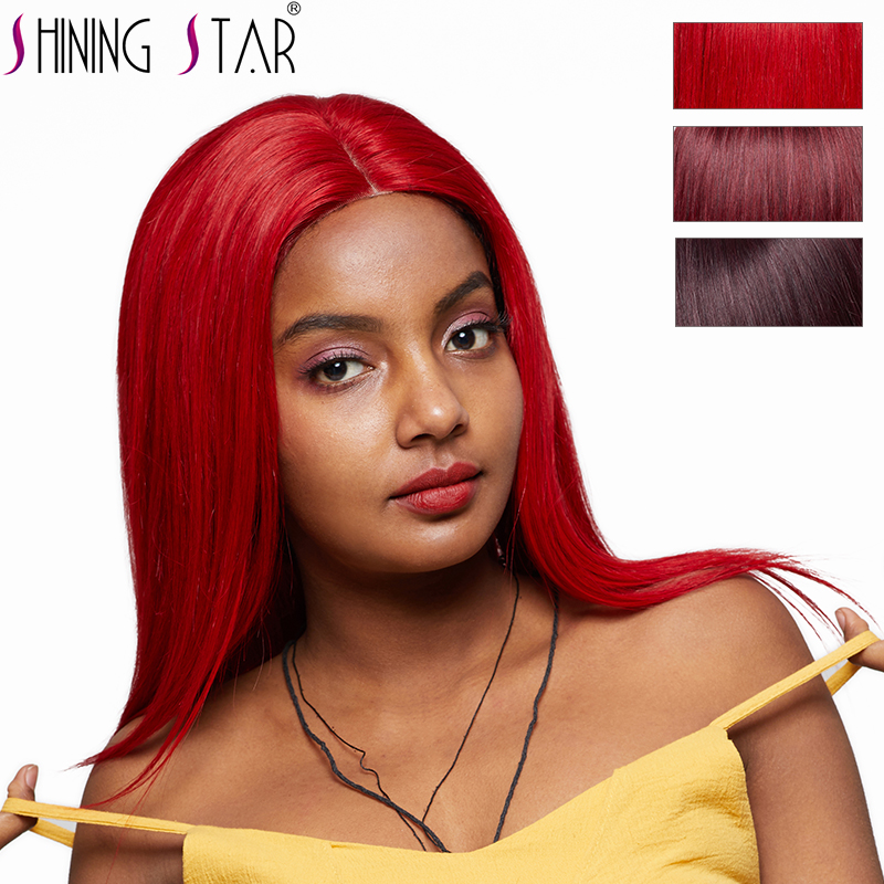 Shining Star Red Straight Hair Lace Front Wig 99J Burgundy Lace Front Human Hair Wigs Pre