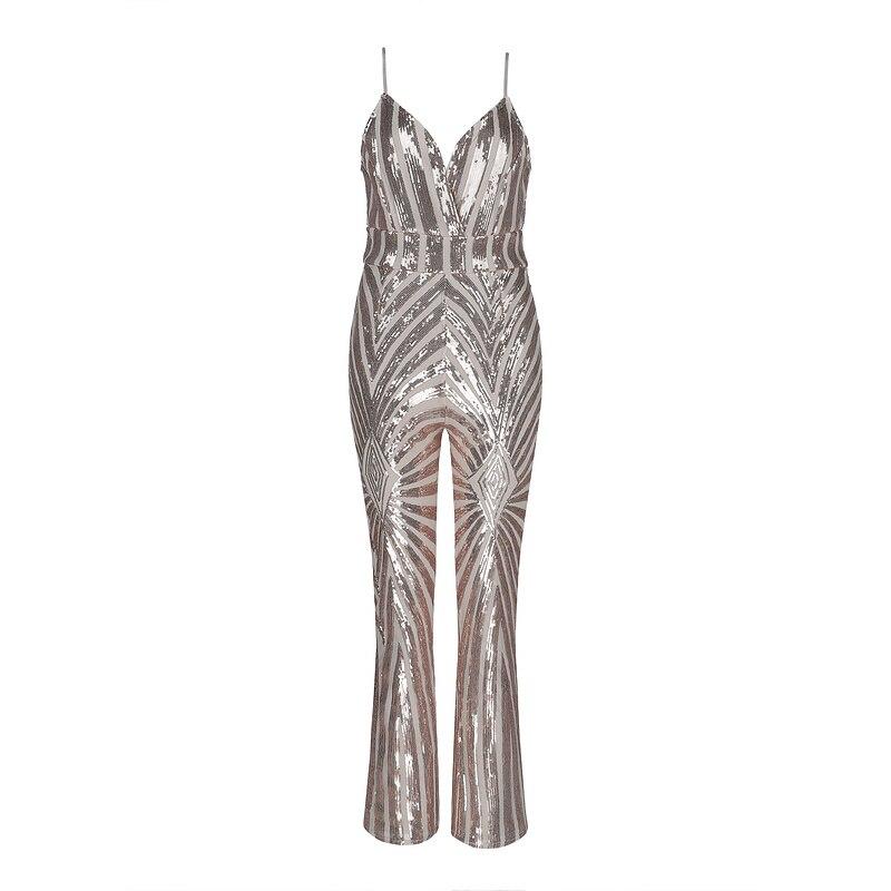 Pour Profond New Sexy Combinaisons La Club Maille Party V Sequin Bandage Toute Skinny De Patchwork Mode Beateen Longueur Apricot Femmes ZCdqxwz7z