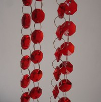 10M Lot 14mm Red Octagon Beads Crystal Glass Garland Strand Beads Chain For Chandelier Curtain Decoration