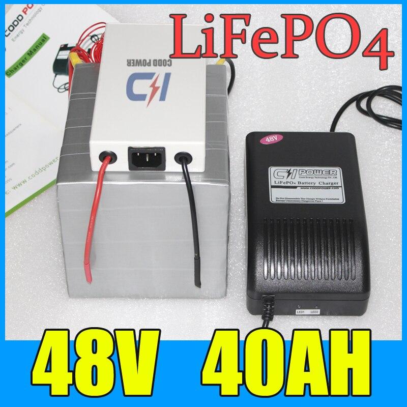 48 V 40AH LiFePO4 batería, 2000 W batería de litio de la VESPA de la bicicleta eléctrica + cargador + BMS, envío libre